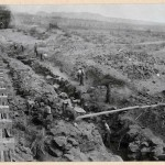 465-Steam drills in operation. Digging dam foundation. 1914.