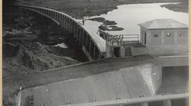 485-Three Miles Diversion Dam. View taken from the east side and slightly below the dam. It shows the various supporting piers and the training well.